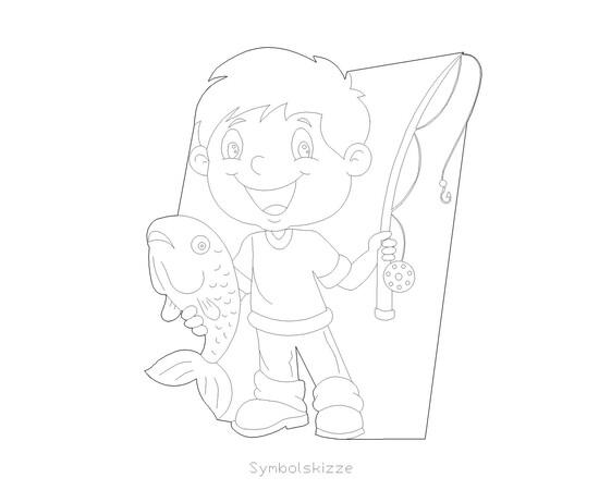 """Figur """"Angler mit Fisch"""""""